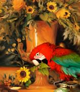 Parrot Mixed Media Prints - Scarlet Badboy Print by Stephen Lucas