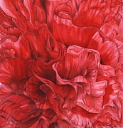 Garden Tapestries - Textiles Originals - Scarlet by Husna Rafath
