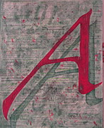Scarlet Letter Posters - Scarlet Letter With Green Background Poster by Mary VanDenBerg