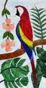 Tropical Scene Glass Art - Scarlet Macaw by Charles McDonell