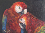 Macaw Art Paintings - Scarlet Macaws  by Gayle Rene