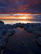 Red Sky Prints - Scarlet Pools Print by Mike  Dawson