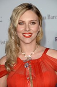 Gold Chain Metal Prints - Scarlett Johansson Wearing A Sonia Metal Print by Everett