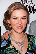 Diamond Earrings Framed Prints - Scarlett Johansson Wearing Van Cleef & Framed Print by Everett