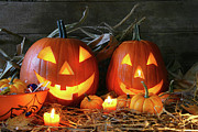 Harvest Photos - Scarved jack-o-lanterns  by Sandra Cunningham