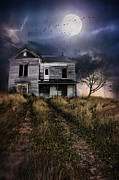 Haunted Shack Posters - Scary abandoned house on hill Poster by Sandra Cunningham