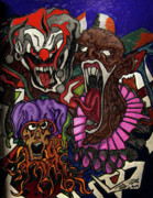 Screaming Mixed Media - Scary Clowns by Peter Piatt