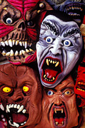 Funny Monsters Posters - Scary Halloween Masks Poster by Garry Gay