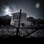 Spooky Moon Posters - Scary House Poster by Stylianos Kleanthous
