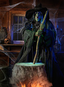 Cobwebs Posters - Scary Old Witch with a Cauldron Poster by Oleksiy Maksymenko
