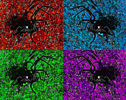 Creepy Digital Art - Scary Spider Serigraph by Al Powell Photography USA