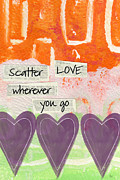 Orange Mixed Media Posters - Scatter Love Poster by Linda Woods