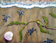 Baby Sea Turtle Paintings - Scattering Sea Turtles by Jennifer Belote
