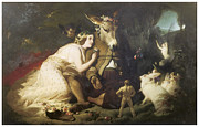 Fantasy Pastels Metal Prints - Scene for a Midsummer Nights Dream Titania and Bottom Metal Print by Edwin Henry Landseer