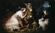 Man And Woman Posters - Scene from A Midsummer Nights Dream Poster by Sir Edwin Landseer