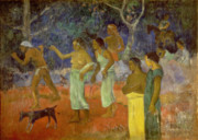 Indigenous Metal Prints - Scene from Tahitian Life Metal Print by Paul Gauguin