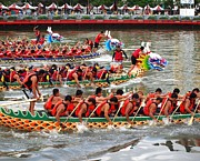 Rowers Art - Scene from the Dragon Boat Races in Kaohsiung Taiwan by Yali Shi