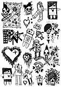 Robots Drawings Framed Prints - Scene Kid Sketches Framed Print by Roseanne Jones