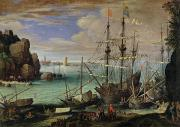 Sailing Ships Framed Prints - Scene of a Sea Port Framed Print by Paul Bril