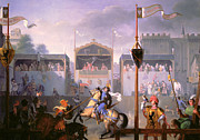 Flags Paintings - Scene of a Tournament in the Fourteenth Century by Pierre Henri Revoil