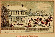 Murders Framed Prints - Scene Of Jesse James Shooting Six Men Framed Print by Everett