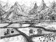 China Drawings - Scenery of South China by Evelyn Sichrovsky