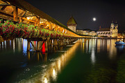 Lucerne Photo Posters - Scenic Night View of the Chapel Bridge in Old Town Lucerne Poster by George Oze