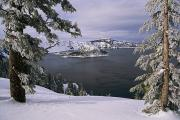 Precipitation Metal Prints - Scenic View At Crater Lake National Metal Print by Paul Nicklen