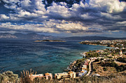 White Clouds Prints - Scenic view of eastern Crete Print by David Smith