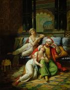 Reclining Paintings - Scheherazade by Paul Emile Detouche