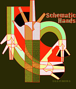 Verlyn Dean Gleisberg Mixed Media - Schematic Hands by Dean Gleisberg