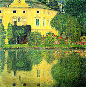 Gustav Klimt Canvas Paintings - Schloss Kammer on the Attersee by Pg Reproductions