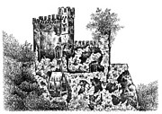 Middle Ages Drawings Prints - Schloss Rheinstein - Rheinstein Castle Print by Deborah Willard