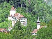 Schloss Wimmis And Church Switzerland Print by Joseph Hendrix