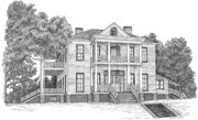 Historic Home Drawings Metal Prints - Schluter House in Jefferson Texas Metal Print by Mickie Moore