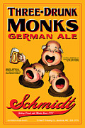 Monks Drawings - Schmidt Three Drunk Monks by John OBrien