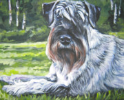 Miniature Schnauzer Paintings - Schnauzer by Lee Ann Shepard