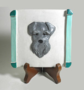 Featured Sculpture Originals - Schnauzer Tile by Suzanne Schaefer