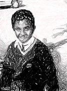Inspire Drawings Metal Prints - School-Boy Dreams Drawing Metal Print by Sri Ram Vankumar