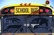 Steve Ohlsen Metal Prints - School Bus  - Up Close Front View Metal Print by Steve Ohlsen