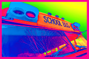 Young Digital Art Originals - School Bus by Gordon Dean II