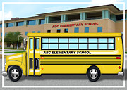 Computer Bus Prints - School Bus in Front of School  Print by Elaine Plesser