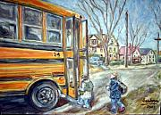 School Houses Painting Posters - School Bus Poster by Joseph Sandora
