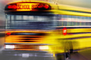 Grill Mixed Media Posters - School Bus Rush Poster by Steve Ohlsen