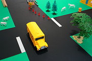 Miniature Prints - School Bus School Print by Olivier Le Queinec