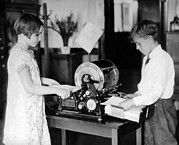 Duplication Framed Prints - School Children Work On A Mimeograph Framed Print by Everett