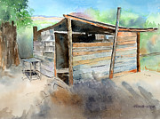 Shack Painting Posters - School Cooking Shack - South Africa Poster by Arline Wagner