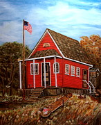 Red School House Painting Framed Prints - School House Framed Print by Kenneth  LePoidevin