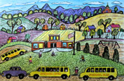 School Houses Drawings - School is Open by Monica Engeler