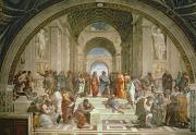 Michelangelo Painting Posters - School of Athens from the Stanza della Segnatura Poster by Raphael
